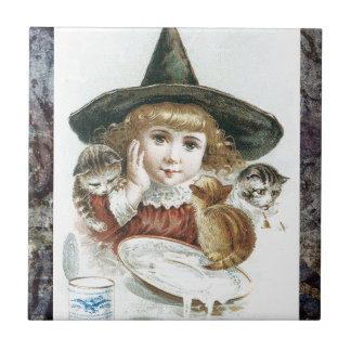 Victorian Halloween Little Girl Witch Hat Cat Tile