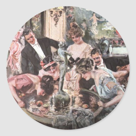 Victorian Halloween Party Classic Round Sticker