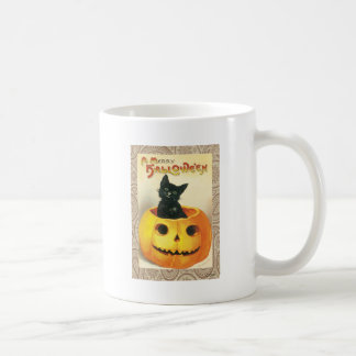 Victorian Halloween Pumpkin Black Cat Coffee Mug