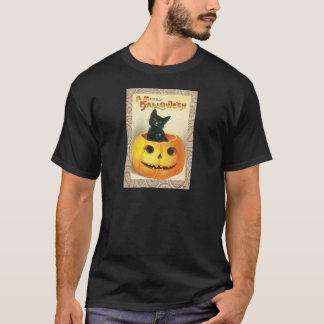 Victorian Halloween Pumpkin Black Cat T-Shirt