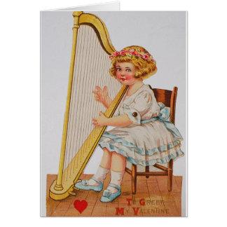 Victorian Harp Valentine's Day Card