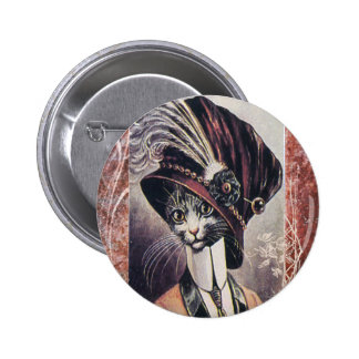 Victorian Hat Cat Woman Feather Pinback Button