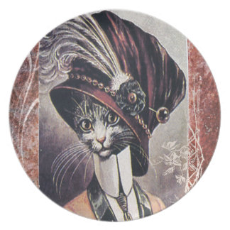 Victorian Hat Cat Woman Feather Plate