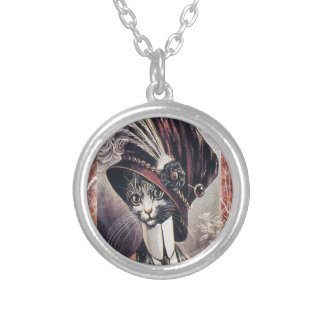 Victorian Hat Cat Woman Feather Round Pendant Necklace
