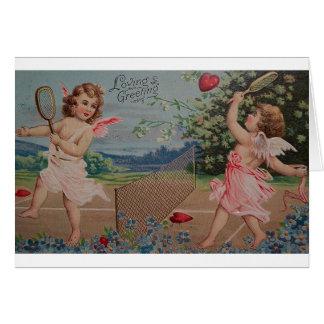 Victorian Heart Tennis Match Valentine's Day Card