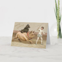 Victorian Hearty Greeting Pig And Dog Circus Card