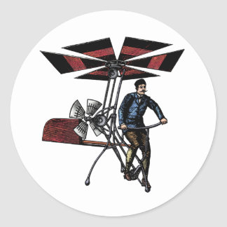 Victorian Helicopter Aircraft Contraption Classic Round Sticker