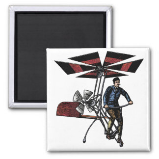 Victorian Helicopter Aircraft Contraption 2 Inch Square Magnet