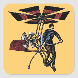 Victorian Helicopter Aircraft Contraption Square Stickers
