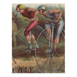 Victorian High Wheel Bicycles Postcard