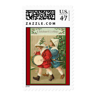 Victorian Holiday Art on Festive Postage Stamps