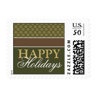 Victorian Holiday Postage Stamps: green/brown/gold
