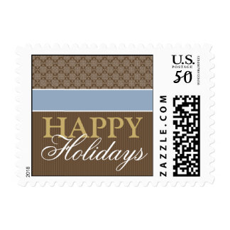 Victorian Holiday Postage Stamps: ice/brown/gold