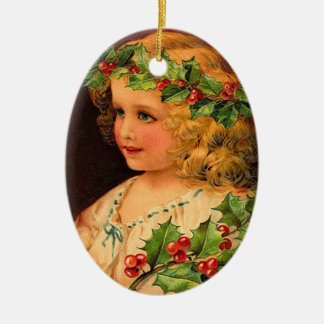 Victorian Holly Girl Ornament