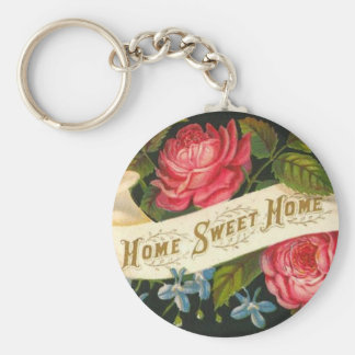 Victorian Home Sweet Home Roses Basic Round Button Keychain