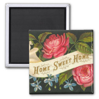 Victorian Home Sweet Home Roses Refrigerator Magnet