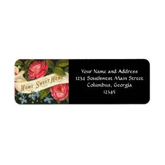Victorian Home Sweet Home Roses Return Address Label