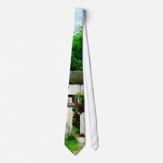 Victorian Home With Open Gate Neck Tie