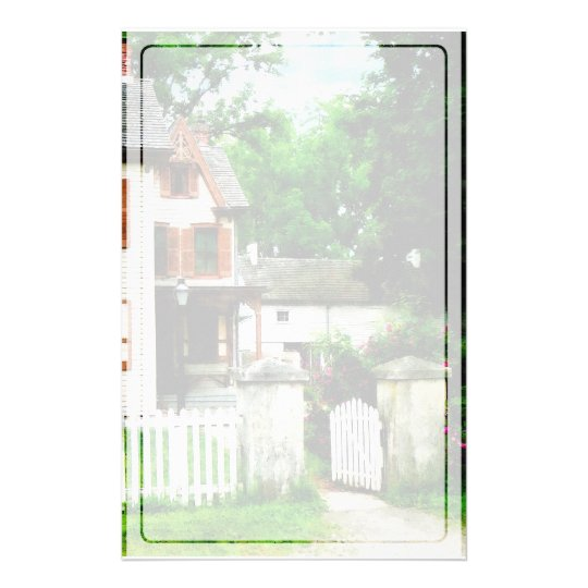 Victorian Home With Open Gate Stationery
