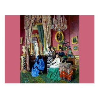 Victorian House Party Women Men Music painting Postcard