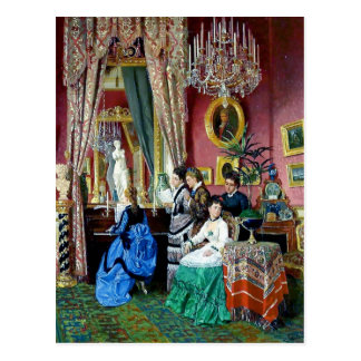 Victorian House Party Women Men Music painting Postcard