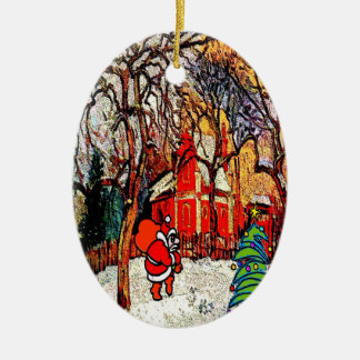 Victorian House with Santa Double-Sided Oval Ceramic Christmas Ornament
