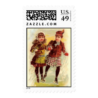 Victorian Ice Skaters Postage