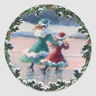 VICTORIAN ICE SKATERS & WREATH by SHARON SHARPE Classic Round Sticker