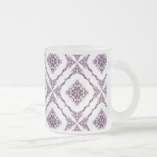 Victorian Inspired Purple Fractal Diamond Design Frosted Glass Coffee Mug