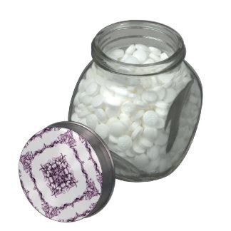 Victorian Inspired Purple Fractal Diamond Design Glass Jars