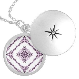 Victorian Inspired Purple Fractal Diamond Design Locket Necklace