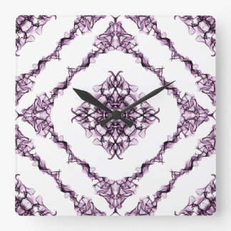 Victorian Inspired Purple Fractal Diamond Design Square Wall Clock