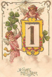 victorian irish new year greeting card