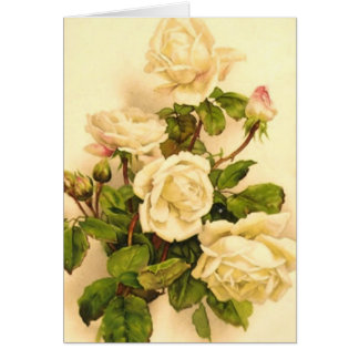 Victorian Ivory Rose Painting Card