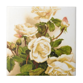 Victorian Ivory Rose Painting Tile