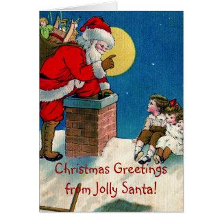 Victorian Jolly Santa w/Children Christmas Greetin Card