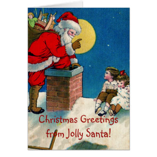 Victorian Jolly Santa w/Children Christmas Greetin Greeting Card