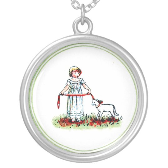 Victorian Kate Greenaway Little Girl and lamb Silver Plated Necklace