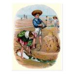 Victorian Kids Build a Sandcastle Postcard