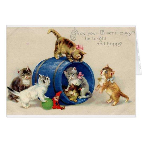 Victorian Kittens Birthday Card