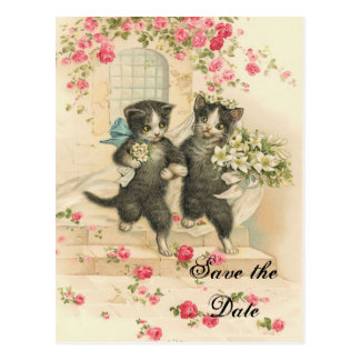 Victorian Kittens Wedding Save the Date Post Cards