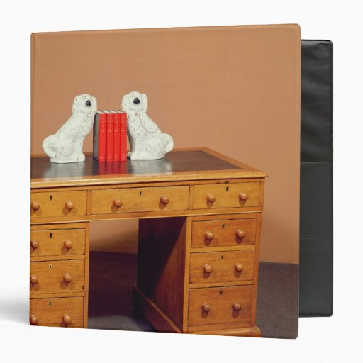 Victorian kneehole desk and a pair of dogs vinyl binders