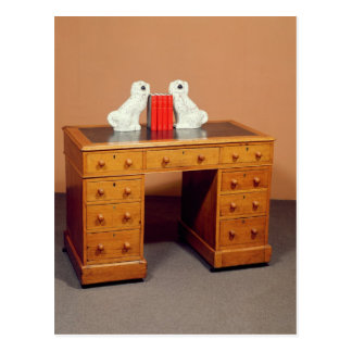 Victorian kneehole desk and a pair of dogs postcard