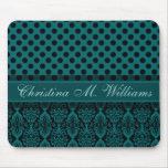 Victorian Lace Black Teal Damask Polka Dot Pattern Mousepad