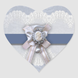 Victorian Lace Blue Cameo Heart Wedding Stickers