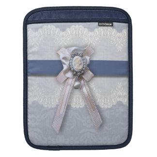 Victorian Lace Blue Cameo iPad Sleeve