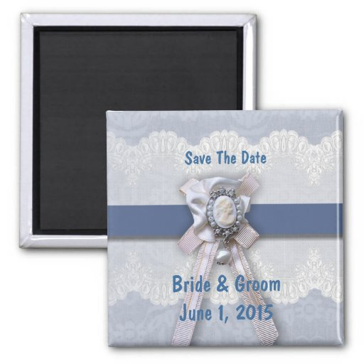 Victorian Lace Blue Cameo Save The Date Magnet