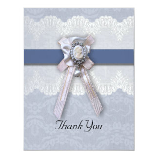 Victorian Lace Blue Cameo Thank You Card Custom Announcements