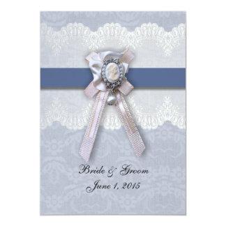 Victorian Lace Blue Cameo Wedding Invitation