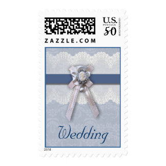 Victorian Lace Blue Cameo Wedding Postage
